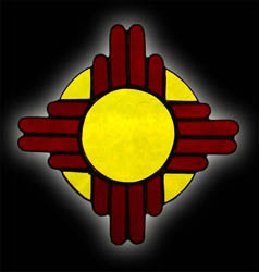 stained glass New Mexico Zia sun suncatcher