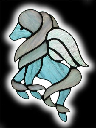 stained glass baby pegasus suncatcher