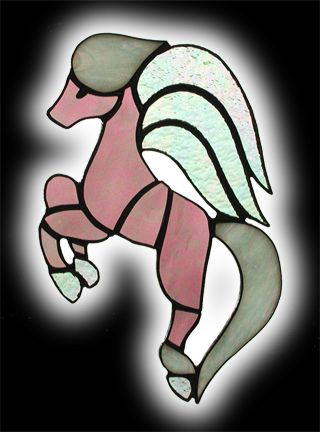 stained glass leaping pegasus suncatcher