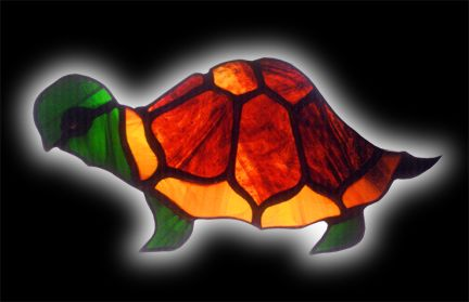 stained glass turtle suncatcher