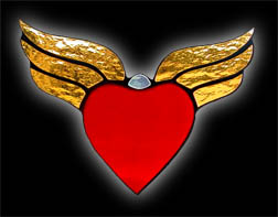 stained glass winged_heart suncatcher
